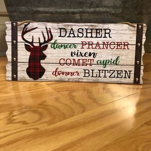 New Buffalo Plaid Reindeer Sign